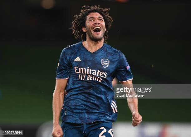 Mo Elneny celebrates scoring the 2nd Arsenal goal during the UEFA Europa League Group B stage match between Dundalk FC and Arsenal FC at Aviva...