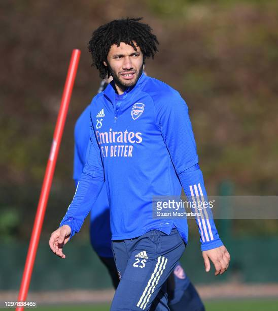 Mo Elneny of Arsenal during a training session at London Colney on January 22, 2021 in St Albans, England.