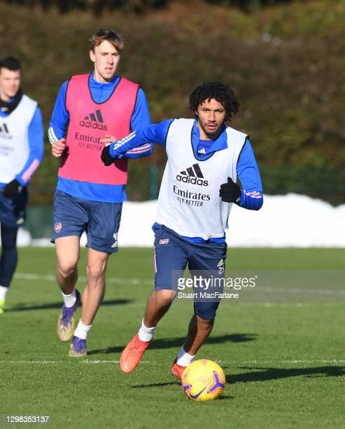 Mo Elneny of Arsenal during a training session at London Colney on January 25, 2021 in St Albans, England.