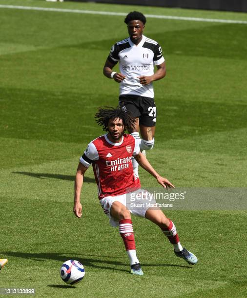 Mo Elneny of Arsenal during the Premier League match between Arsenal and Fulham at Emirates Stadium on April 18, 2021 in London, England. Sporting...