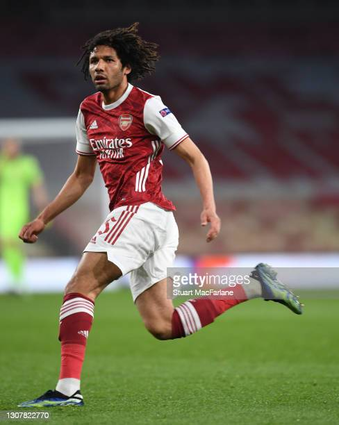 Mo Elneny of Arsenal during the UEFA Europa League Round of 16 Second Leg match between Arsenal and Olympiacos at Emirates Stadium on March 18, 2021...