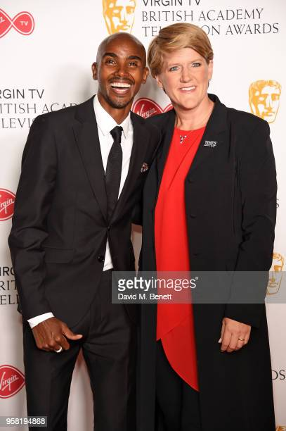 Mo Farah and Clare Balding attend the Virgin TV British Academy Television Awards at The Royal Festival Hall on May 13 2018 in London England