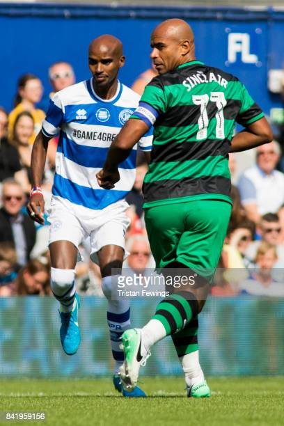 Mo Farah and Trevor Sinclair during the #GAME4GRENFELL at Loftus Road on September 2 2017 in London England The charity football match has been set...