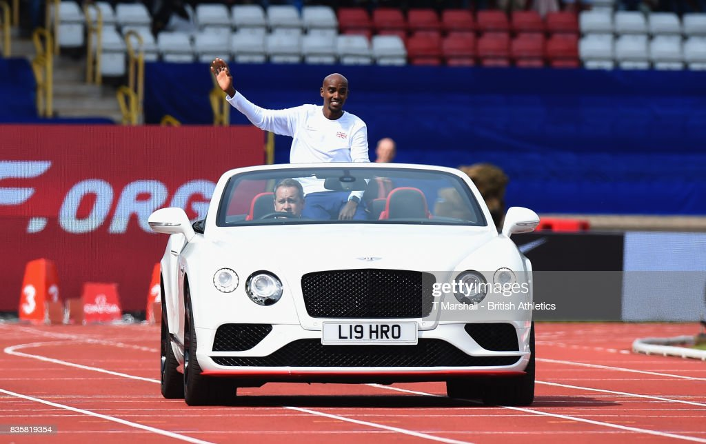 Mo Farah arrives in an open top Bentley during the Muller Grand Prix and IAAF Diamond League event at Alexander Stadium on August 20, 2017 in Birmingham, England.