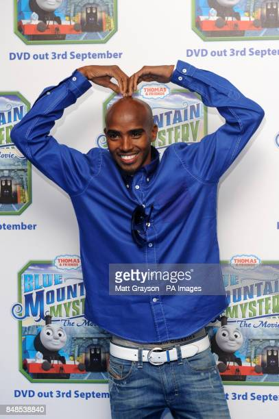 Mo Farah arriving at the premiere of Thomas and Friends Blue Mountain Mystery at Vue Cinema Leicester Square London