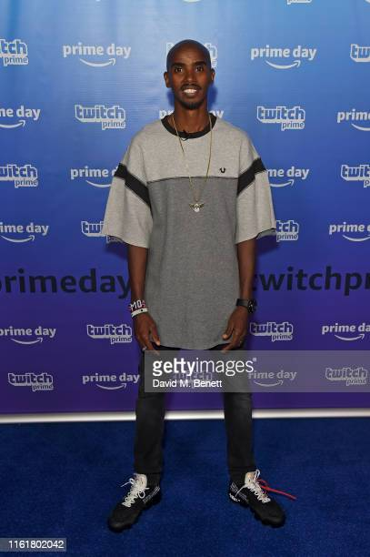 Mo Farah at the Twitch Prime Crown Cup at the Gfinity Esports Arena July 13, 2019 in London, England. The event was streamed live at...