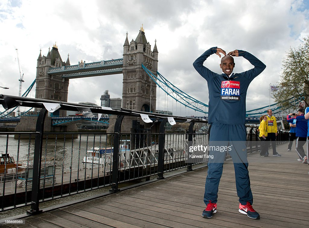 Mo Farah attends the British atheletes photocall ahead of The the London Marathon at The Tower Hotel on April 18, 2013 in London, England.