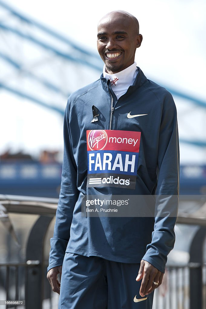 Mo Farah attends the British atheletes photocall for the British athletes ahead of The the London Marathon at The Tower Hotel on April 18, 2013 in London, England.