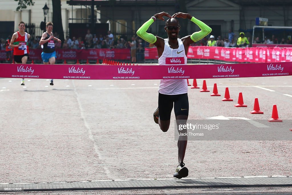 Mo Farah crosses the finish line in first place during the Vitality London 10,000 on May 28, 2018 in London, England.