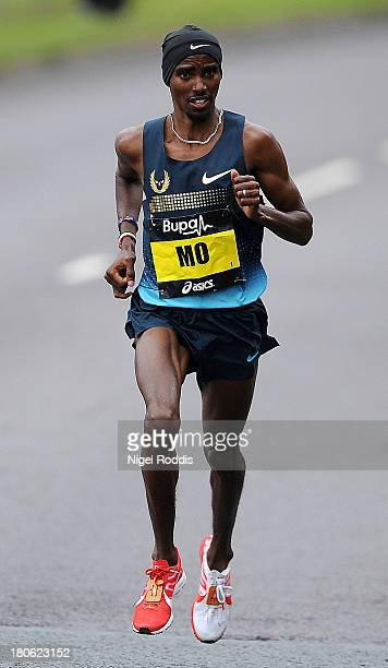Mo Farah during the Great North Run on September 15 2013 in Gateshead England