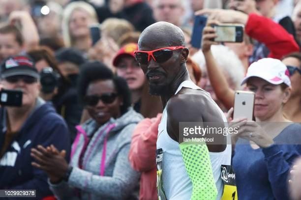 Mo Farah is seen during the Elite Men's Race during The Great North Run on September 9 2018 in Newcastle upon Tyne England