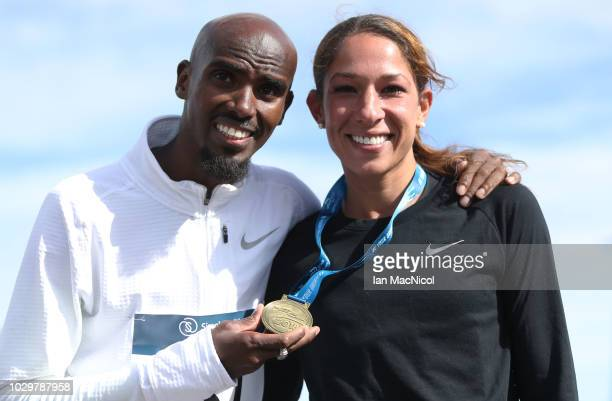Mo Farah is seen with his wife Tania Nell after the Elite Men's Race during The Great North Run on September 9 2018 in Newcastle upon Tyne England