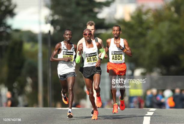 Mo Farah leads the Elite Men's Race during The Great North Run on September 9 2018 in Newcastle upon Tyne England