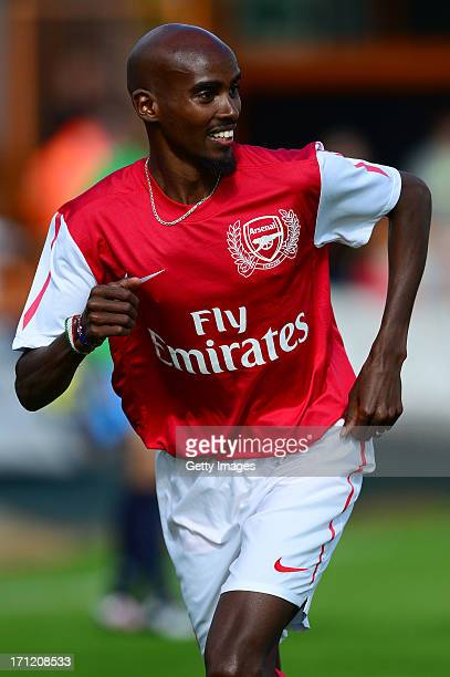 Mo Farah of Arsenal Legends XI in action during the charity football match between Arsenal Legends XI and World Refugee Internally Displaced Persons...
