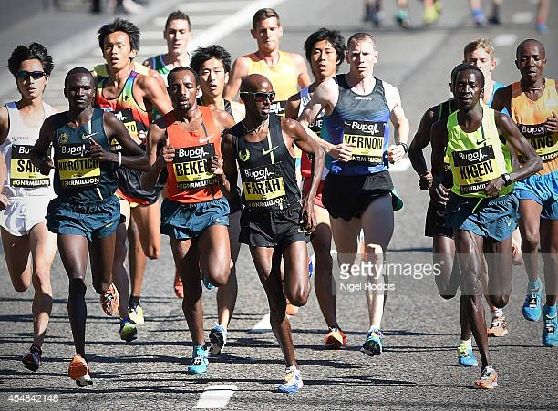 Mo Farah of Britain leads the Great North Run on September 7 2014 in Gateshead England