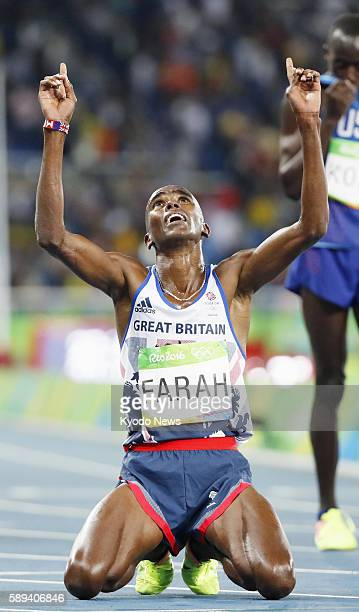 Mo Farah of Britain reacts after winning the men's 10000 meters in the athletics competition of the Rio de Janeiro Olympic Games on Aug 13 2016