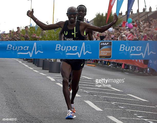Mo Farah of Britain wins the Great North Run on September 7 2014 in Gateshead England
