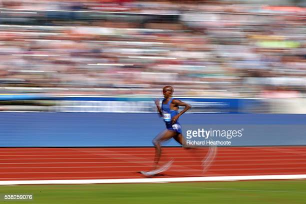 Mo Farah of GB on his way to setting a new British 3000m record during the IAAF Diamond League meeting at Alexander Stadium on June 5 2016 in...