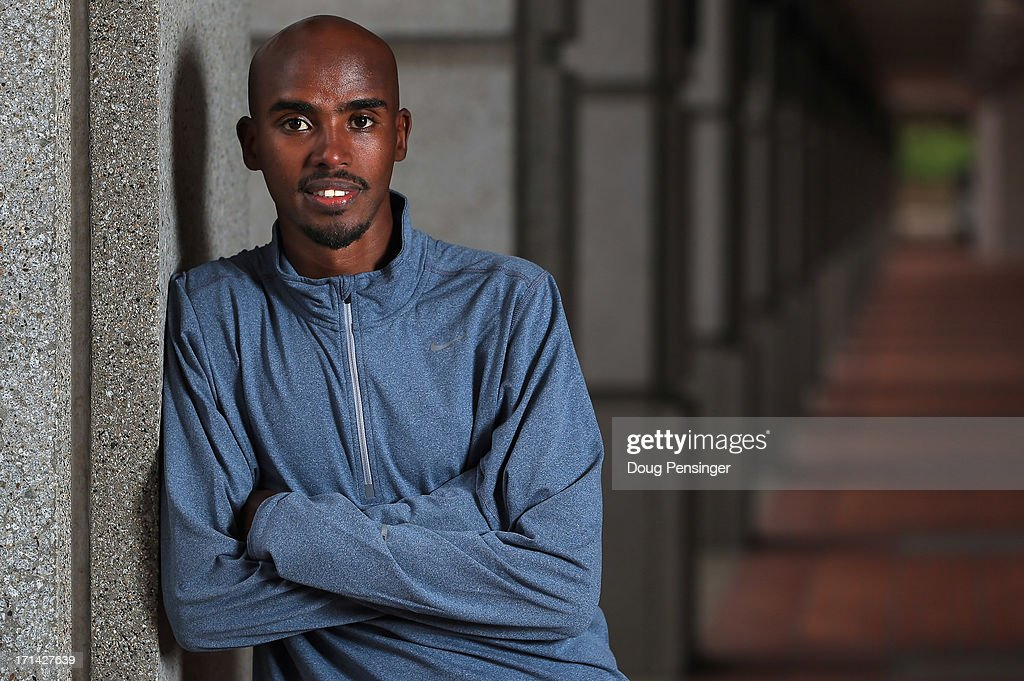 Mo Farah of Great Britain, a member of the Oregon Project, poses for a portrait on the Nike campus on April 13, 2013 in Beaverton, Oregon. Farah won the gold medal in the 10,000m and the 5000m at the 2012 London Olympic Games.