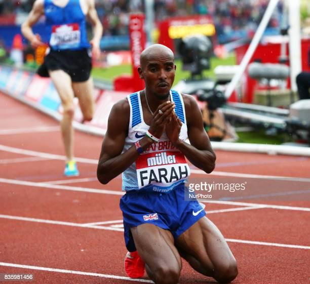 Mo Farah of Great Britain after the 3000m Men during Muller Grand Prix at Alexander Stadium Birmingham on 20 August 2017