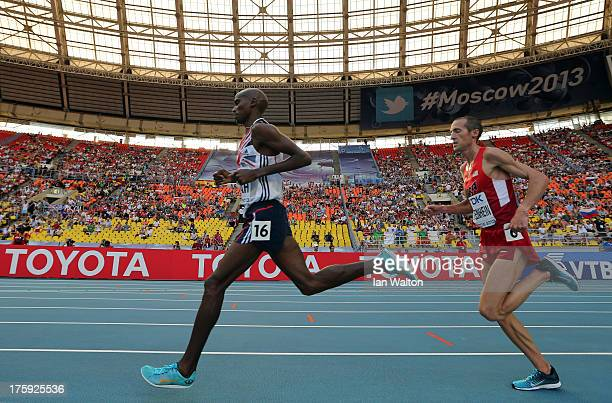 Mo Farah of Great Britain and Dathan Ritzenhein of the United States compete in the Men's 10000 metres final during Day One of the 14th IAAF World...