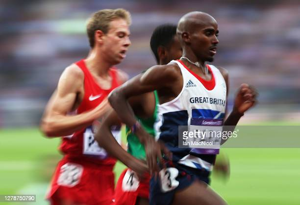 Mo Farah of Great Britain and Galen Rupp of United States compete in the men's 5000m Final during the 2012 London Olympics at The Olympic Stadium on...