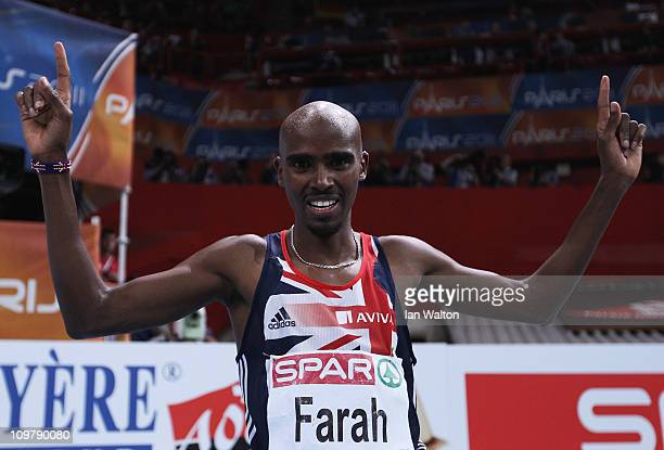 Mo Farah of Great Britain and Northern Ireland celebrates winning the gold medal in the Men's 3000m during day 2 of the 31st European Athletics...