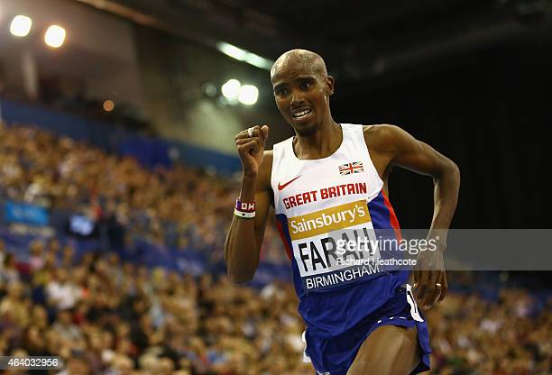 Mo Farah of Great Britain and Northern Ireland on his way to winning the Men's 2 Miles final during the Sainsbury's Indoor Grand Prix at Barclaycard...