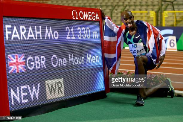 Mo Farah of Great Britain and Northern Irelands celebrates winning in the New World Record time after he competes in the One Hour Race during the...