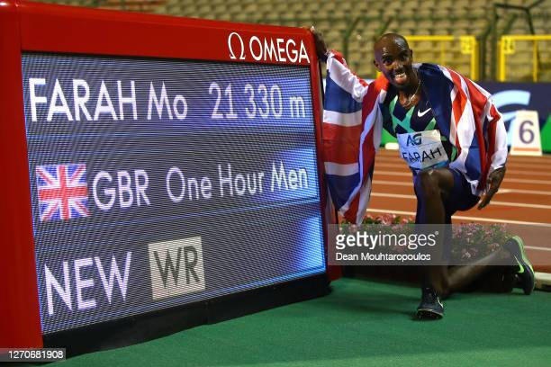 Mo Farah of Great Britain and Northern Irelands celebrates winning the One Hour Race with a new World Record time during the Memorial Van Damme...