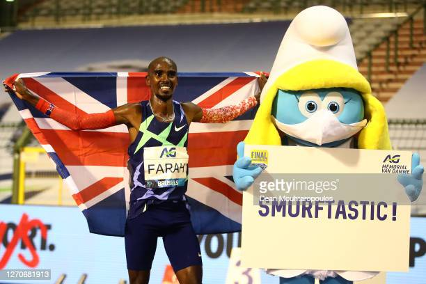 Mo Farah of Great Britain and Northern Irelands celebrates winning the One Hour Race during the Memorial Van Damme Brussels 2020 Diamond League...