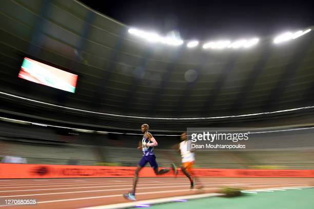 Mo Farah of Great Britain and Northern Irelands competes in the One Hour Race during the Memorial Van Damme Brussels 2020 Diamond League meeting at...