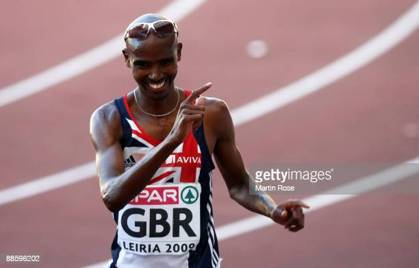 Mo Farah of Great Britain celebrates after the men's 5000m during day one at the Spar European Team Championship at the Estadio Municipal DrMagalhaes...