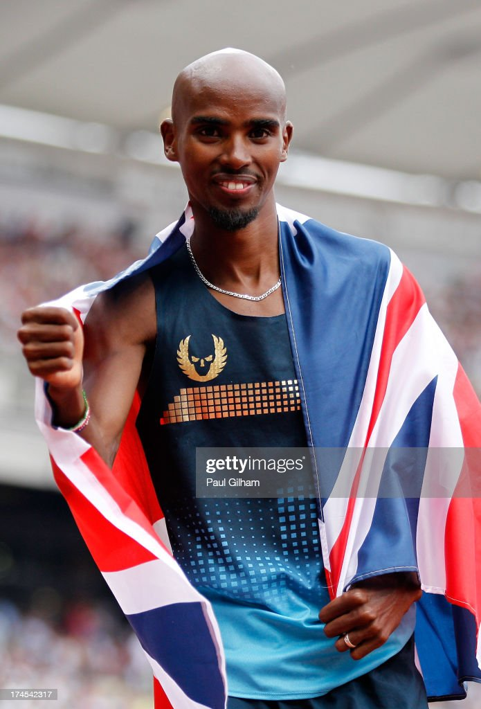 Mo Farah of Great Britain celebrates after winning the Men's 3000m during day two of the Sainsbury's Anniversary Games - IAAF Diamond League 2013 at The Queen Elizabeth Olympic Park on July 27, 2013 in London, England.