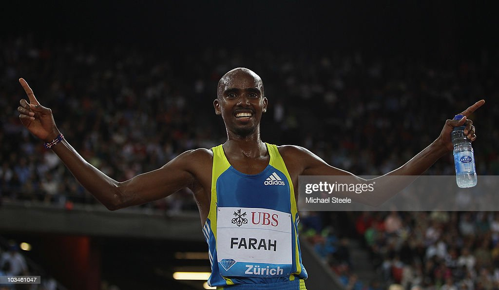 Mo Farah of Great Britain celebrates setting a new national record for the men's 5000m with a time of 12:57.94 during the Iaaf Diamond League meeting at the Letzigrund Stadium on August 19, 2010 in Zurich, Switzerland.