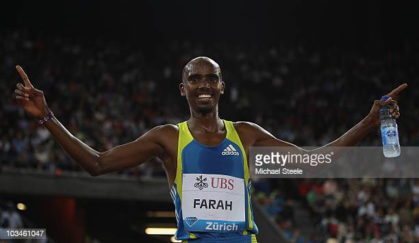 Mo Farah of Great Britain celebrates setting a new national record for the men's 5000m with a time of 125794 during the Iaaf Diamond League meeting...