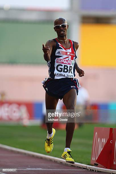 Mo Farah of Great Britain celebrates victory in the men's 5000m during day one of the Spar European Team Championships at the Estadio Municipal...
