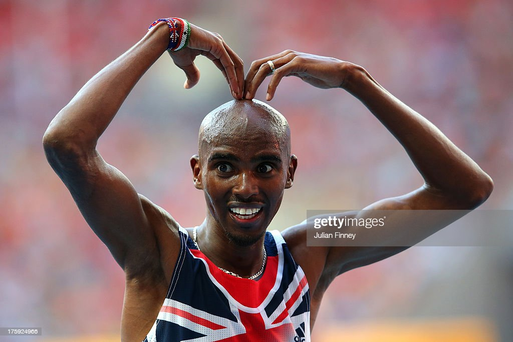 Mo Farah of Great Britain celebrates winning gold in the Men's 10000 metres final during Day One of the 14th IAAF World Athletics Championships Moscow 2013 at Luzhniki Stadium on August 10, 2013 in Moscow, Russia.