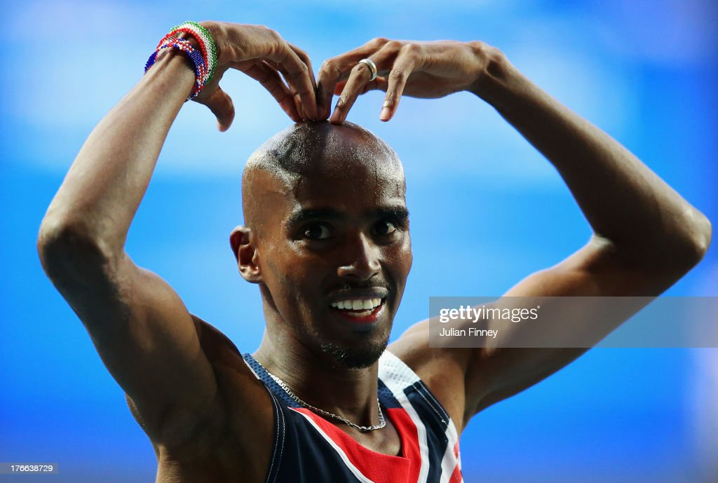 Mo Farah of Great Britain celebrates winning gold in the Men's 5000 metres final during Day Seven of the 14th IAAF World Athletics Championships Moscow 2013 at Luzhniki Stadium at Luzhniki Stadium on August 16, 2013 in Moscow, Russia.