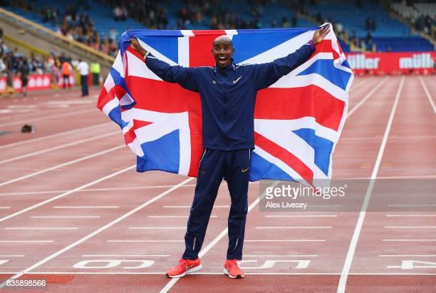 Mo Farah of Great Britain celebrates winning the Men's 3000m his last UK track race during the Muller Grand Prix Birmingham as part of the IAAF...