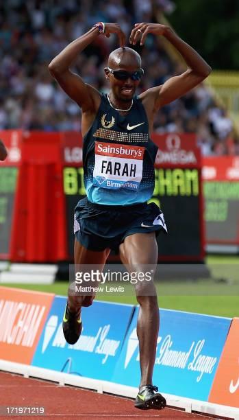 Mo Farah of Great Britain celebrates winning the Mens 500m during the Sainsbury's Grand Prix Birmingham IAAF Diamond League at Alexander Stadium on...