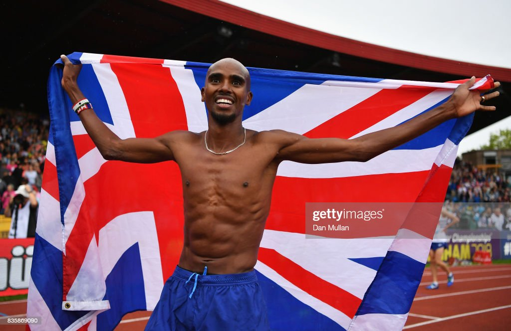 Mo Farah of Great Britain celebrates winning the the Men's 3000m, his last UK track race during the Muller Grand Prix Birmingham as part of the IAAF Diamond League 2017 at Alexander Stadium on August 20, 2017 in Birmingham, United Kingdom.
