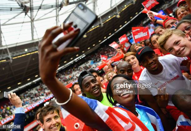 Mo Farah of Great Britain celebrates with fans after he won the Mens 3000m during the Muller Anniversary Games at London Stadium on July 9, 2017 in...