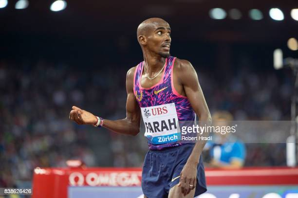 Mo Farah of Great Britain checks the score board during the Diamond League Athletics meeting 'Weltklasse' on August 24 2017 at the Letziground...