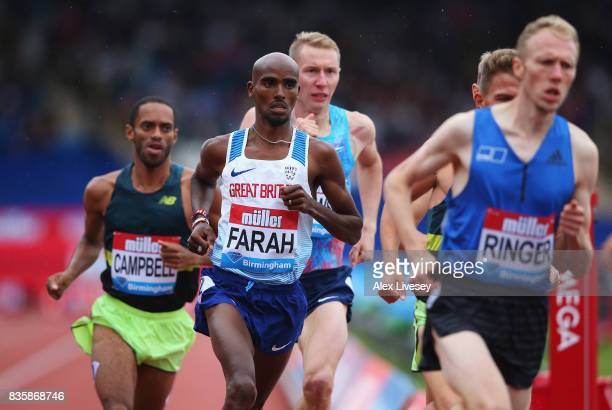 Mo Farah of Great Britain competes in the Men's 3000m his last UK track race during the Muller Grand Prix Birmingham as part of the IAAF Diamond...