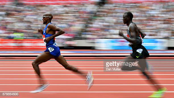 Mo Farah of Great Britain competes in the Men's 5000m during Day Two of the Muller Anniversary Games at The Stadium Queen Elizabeth Olympic Park on...