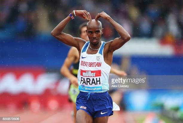 Mo Farah of Great Britain crosses the line to win the Men's 3000m his last UK track race during the Muller Grand Prix Birmingham as part of the IAAF...