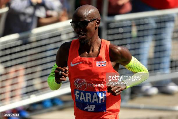 Mo Farah of Great Britain during the Virgin Money London Marathon on April 22 2018 in London England