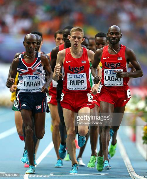 Mo Farah of Great Britain Galen Rupp of the United States and Bernard Lagat of the United States during Day Seven of the 14th IAAF World Athletics...