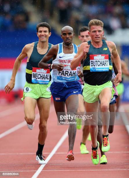 Mo Farah of Great Britain in action during the Men's 3000m race at the Muller Grand Prix Birmingham meeting at Alexander Stadium on August 20 2017 in...